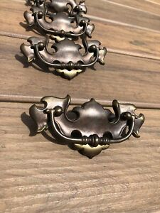 4 Vintage Batwing Style Brass Chippendale Drawer Cabinet Bail Drop Pulls