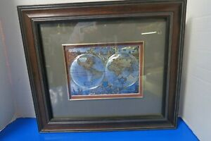 Antique Reproduction Of Map Of The World Wood Frame 14 5 L X 12 5 Tall