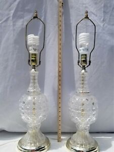 Vintage Pair Cut Clear Glass Brass Table Lamps Octagon Thumbnail Diamond 20