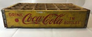 Vintage 1967 Chattanooga Coca - Cola Yellow Crate Red Letter 24 Bottle