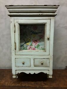 Antique Vintage Painted Hanging Wall Cupboard Shabby Chic