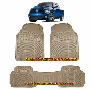 3pc All Weather Beige Rubber Floor Mats Set For Dodge Ram 1500 Durango