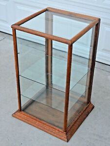Vintage Original Antique Oak Glass Tower Display Case Showcase Store Display