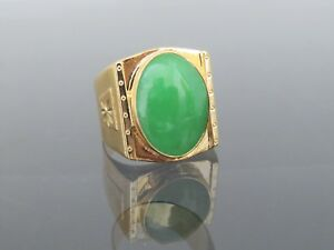 Vintage 18k Solid Yellow Gold Oval Green Jadeite Jade Men S Ring Size 9