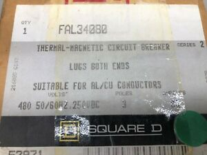 New In Box Square D 80 Amp 3 Pole 480 Vac 250 Vdc Breaker Fal34080