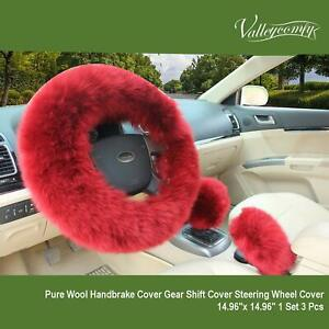 Steering Wheel Cover Set Cute Fluffy Fur Bling Wool Car Accessories For Women