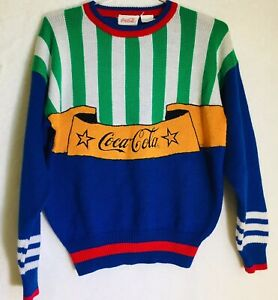 Vintage Coca Cola Big Spell Out Sweater Embroidered Logo Colorful Size Medium