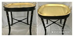 Pair Vtg Faux Bamboo Tray Table Black Gold Brass Hollywood Regency Butler Oblong