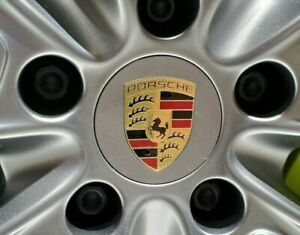 4x Silver Gray With Gold Crest Center Caps For Porsche Modern Cars 76mm