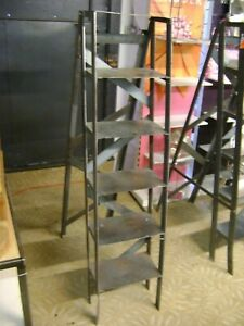 Six Step Steel Urban Industrial Retail Display Ladder Shelving Unit