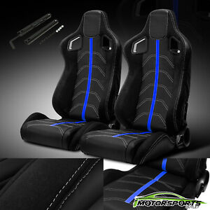 Black Blue Reclinable Pvc Suede And Line Left Right Sport Racing Seats W Slider