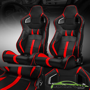 Black red Reclinable Pvc Main Side Design Left right Sport Racing Seats W slider