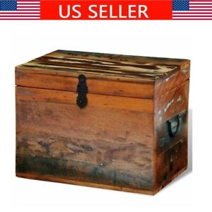 Solid Wood Storage Chest Rustic Wooden Blanket Pillow Box Trunk 15 X 11 X 12