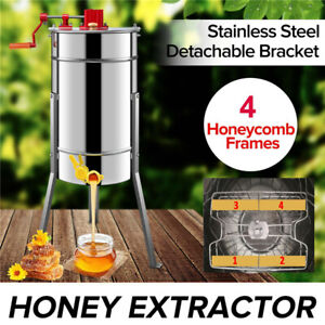 Stainless Steel 4 Frames Honey Manual Extractor Equipment Beekeeping Supplies