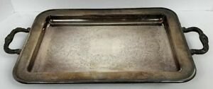 Leonard Silver Plate Rectangle Footed Serving Tray With Handles 13 1 2 Vintage