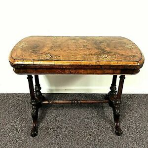 19th Century Victorian English Burl Walnut Fold Over Card Table