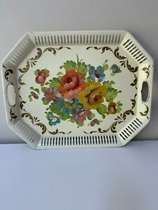 Gorgeous Vtg Shabby Chic Hand Painted Pierced Tole Floral Tin Tray 20 5 X 16