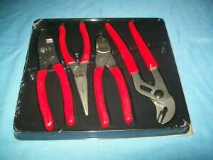 New Snap on 4 pc Pliers Cutters Set Pl400b Adjustable Slip Joint Needle Nose