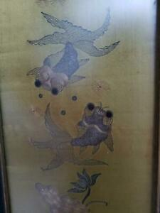 Antique Chinese Embroidery Textile Panel Early Qing Fish Silk Gold