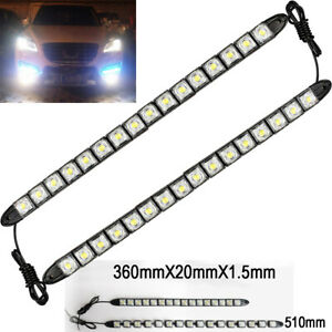 16 Led White Waterproof Universal Drl Flexible Strip Turn Signal Light Ch Do Ben
