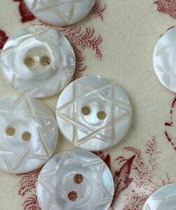 Antique Ms River Star Hand Carved Pearl Buttons 8 Pcs 1 75mm