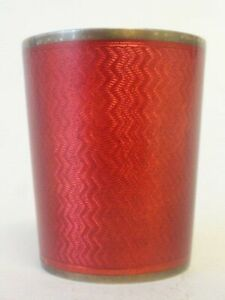 Antique Russian Faberge Silver 91 Guilloche Red Enamel Cup
