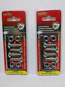 2 License Plate Tag Frame Locking Fasteners Metric Screws Bolts Import Car Auto