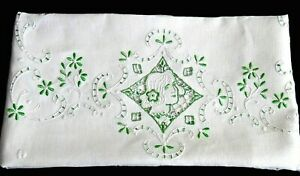 Irish Linen Green Embroidery Tablecloth 69x51 Cutwork Lady Cameo