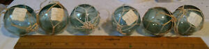 Lot Of 6 Vtg 2 Japanese Glass Fishing Balls Green Floats