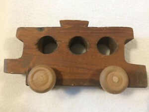 Vintage Wooden Hand Carved Train Wagon Works Well