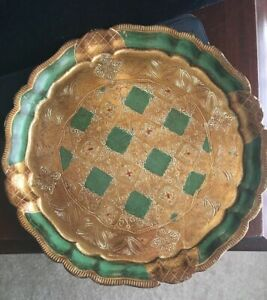 Vintage Tole Painted Round Wood Gold Florentine Tray Unmarked