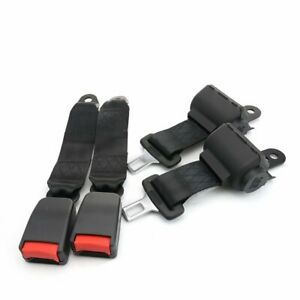 2kits 2 Point Fixed Seatbelt Lap Strap Buckle Clip Safety Belt Black Retractable