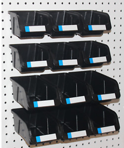 Pegboard Bins 12 Pk Kit Hooks To Peg Board 6 Med 6 Lg Bin Part Storage