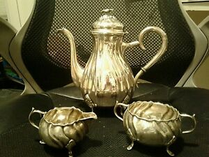 Sterling Silver 925 Tea Pot Set 896 Grams Milk Sugar Anique Danish Excellent