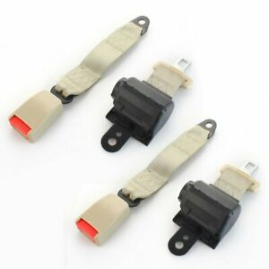 1 Pair 2 Point Harness Safety Seat Belt Buckle Clip Beige Retractable Fits Ram
