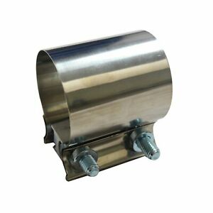 2 T304 Stainless Steel Butt Joint Band Exhaust Clamp Sleeve Coupler