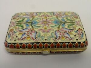 Antique Russian Silver 88 Cloisonne Shaded Enamel Cigarette Case Feodor Ruckert