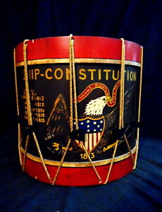 Vintage Drum Inspired End Table Great Design And Colors 1960 S Nautical Theme