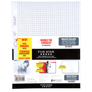 Five Star Loose Leaf Paper 3 Hole Punched Reinforced Filler Paper Graph 11 X