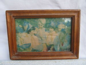 Old Vintage Primitive Wooden Photo Frame With Russian Ussr Photo