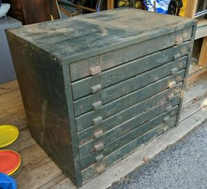 Industrial Vintage 7 Drawer Hobart Map Cabinet Huge Metal