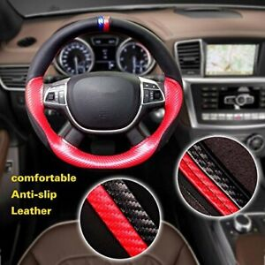 38cm 15 Black Red Car Steering Wheel Cover Microfiber Leather Non Slip Grip Us