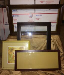Vintage Wooden Picture Frames Lot Of 4 Large Medium Small