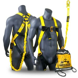 Kwiksafety Scorpion Ansi Fall Protection Safety Harness W Attached 6ft Lanyard