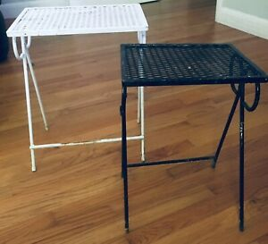 Vintage Mcm 2 Wrought Iron Metal Patio End Tables Outdoor Porch Mid Century