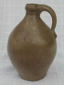 Small Antique Early American Ovoid Stoneware Jug