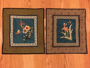 Vintage Asian Chinese Embroidery Blue Silk Flowers Tapestry Textiles Art 2