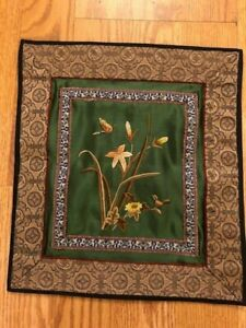 Vintage Asian Chinese Embroidery Green Silk Flowers Tapestry Textiles Art