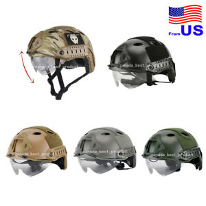 Airsoft Fast PJ Type Tactical Fast Helmet With Protective Goggles Side Rail USA $42.29