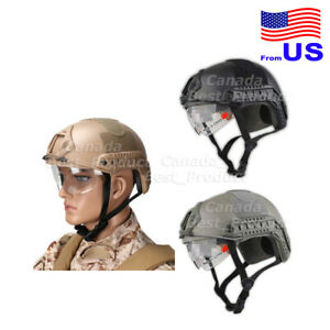 Airsoft Fast MH Type Tactical Fast Helmet With Protective Goggles Side Rail USA $33.29